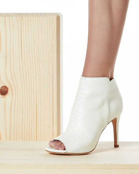 Gwen Textured Leather Open-Toe Bootie, Porcelain