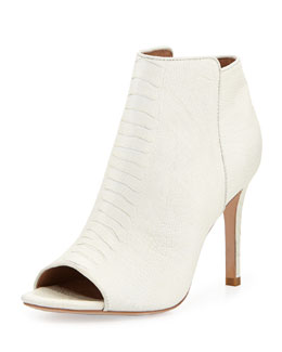 Joie Gwen Textured Leather Open-Toe Bootie, Porcelain