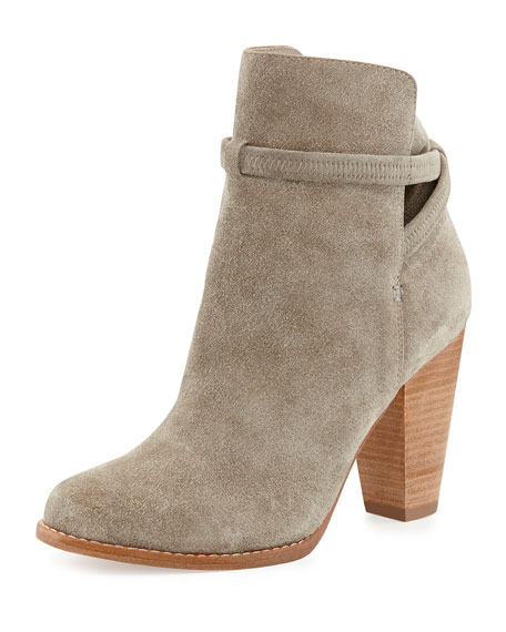 Rigby Suede Crisscross Ankle Bootie, Fog