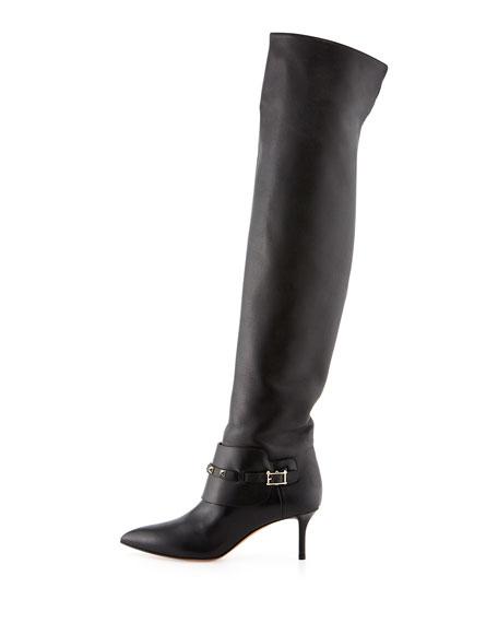 Rockstud Low-Heel Over-The-Knee Boot, Black