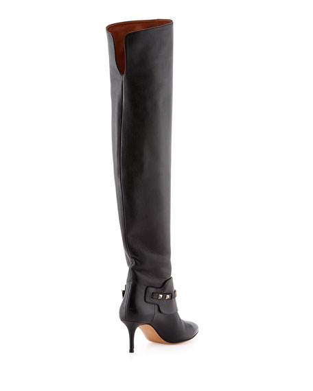 Rockstud Low-Heel Over-The-Knee Boot, Black