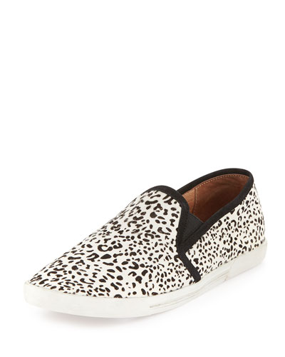 Kidmore Leopard-Print Calf-Hair Slip-On, Black/White