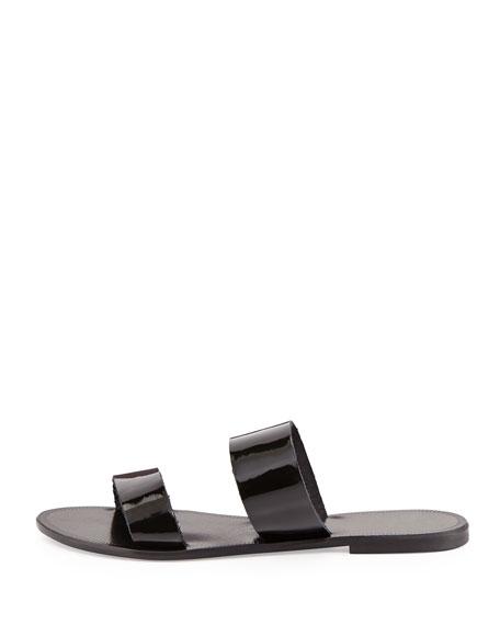 Sable Patent Double-Strap Sandal, Black