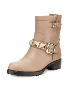 Valentino Rockstud Big-Stud Short Moto Boot