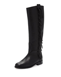 Valentino Side Fringe Flat Knee Boot, Black