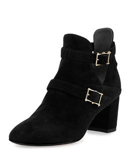 Valentino Suede Double-Buckle Ankle Boot, Black