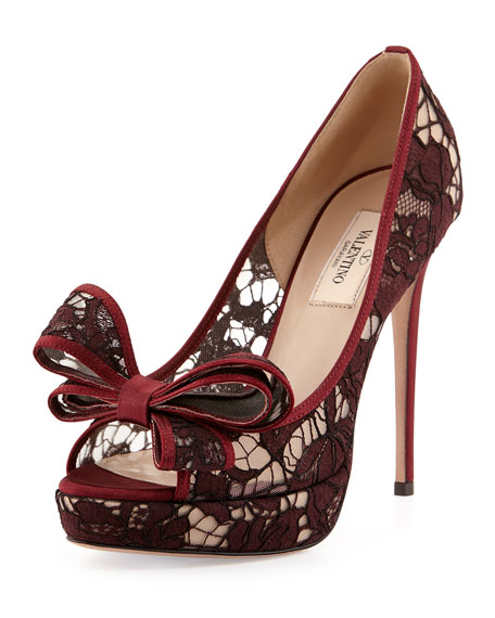 Lace Bow Peep-Toe Platform Pump