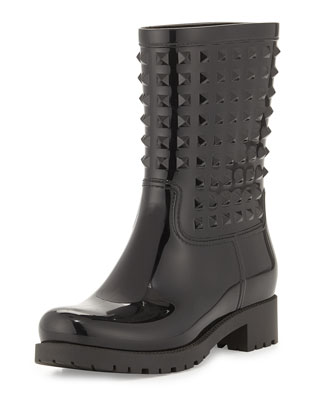 Valentino Rockstud Rubber Rainboot, Black