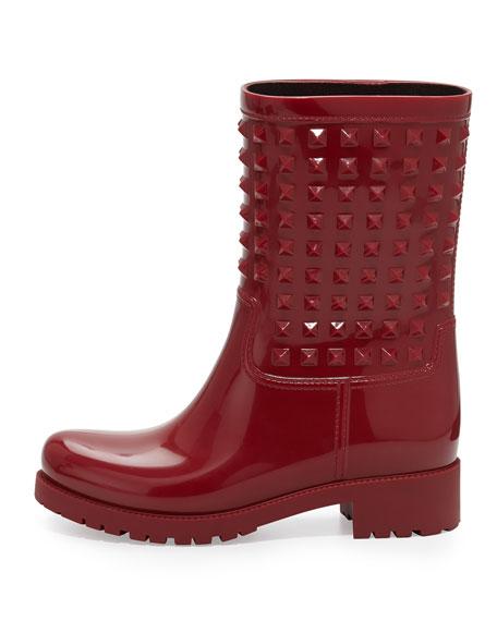 Rockstud Rubber Rainboot, Red