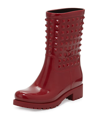 Valentino Rockstud Rubber Rainboot, Red