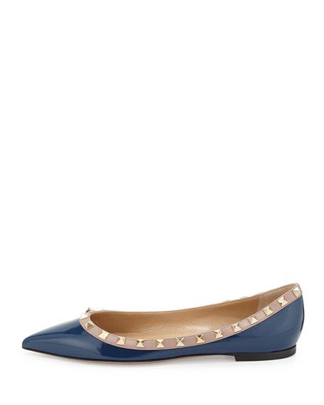 Rockstud Trim Patent Ballerina Flat, Blue
