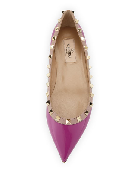 Rockstud Trim Patent Ballerina Flat, Violet