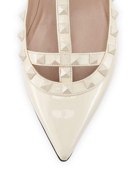 Rockstud Cage Patent Ballerina Flat, Ivory