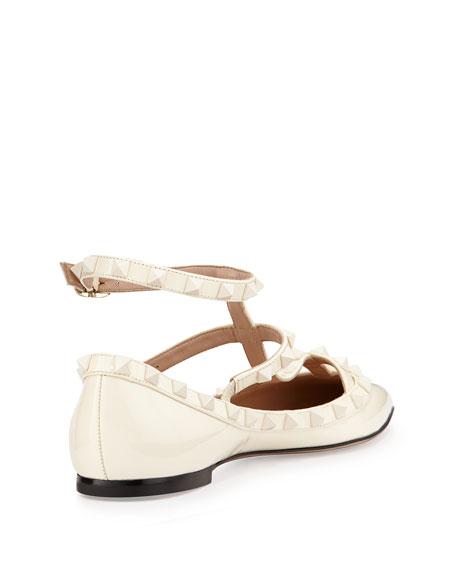 Valentino Garavani Rockstud Cage Patent Ballerina Flat, Ivory