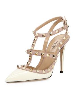Valentino Rockstud Patent Sandal, Ivory