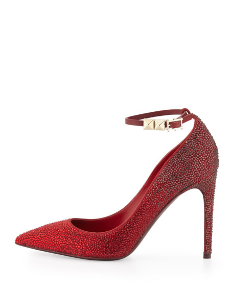 Rouge Absolute Crystal Ankle-Strap Pump, Rouge