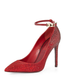 Valentino Rouge Absolute Crystal Ankle-Strap Pump, Rouge