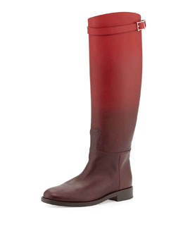 Valentino Ombre Leather Knee Boot, Wine