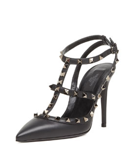 Valentino Noir Rockstud Leather Slingback, Black