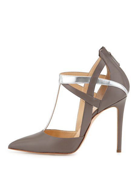 Mixed-Leather T-Strap Pump