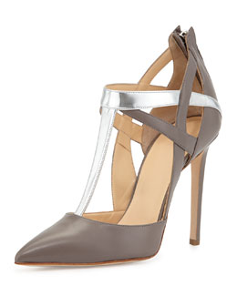 Alejandro Ingelmo Mixed-Leather T-Strap Pump