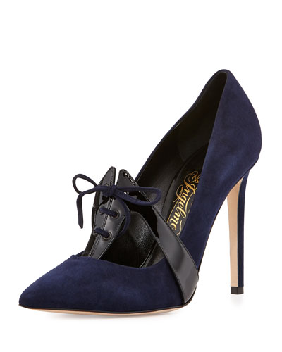 Pointed-Toe Loafer Pump, Navy