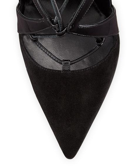 Ilaria Patent & Suede Lace-Up Point-Toe Pump, Black