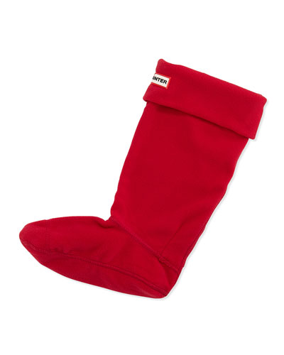 Fleece Welly Socks, Red