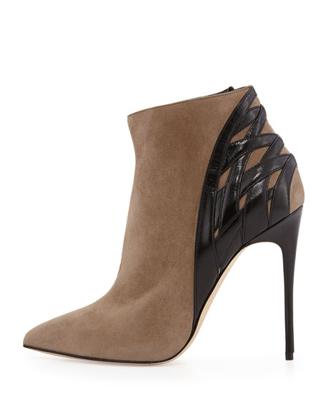Woven-Back Pointy Bootie