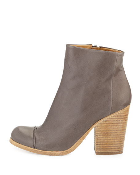 Celie Leather Cap-Toe Bootie, Gray