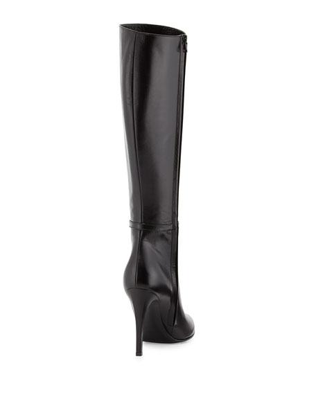 High-Heel Leather Knee Boot