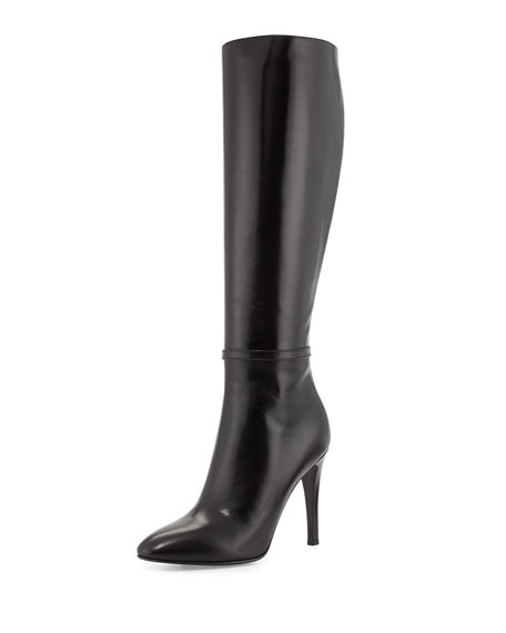 Saint Laurent High-Heel Leather Knee Boot