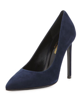 Saint Laurent Suede Pointed-Toe Pump, Navy
