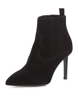 Saint Laurent Suede Elastic-Side Pointed Bootie