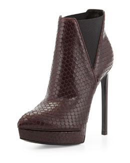 Saint Laurent Python-Print Stretch Platform Bootie
