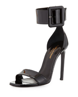 Saint Laurent Patent Ankle-Buckle d'Orsay Sandal