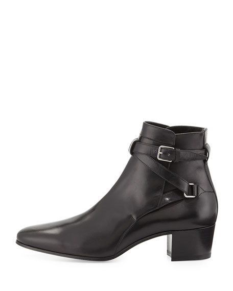 Low-Heel Ankle-Strap Bootie