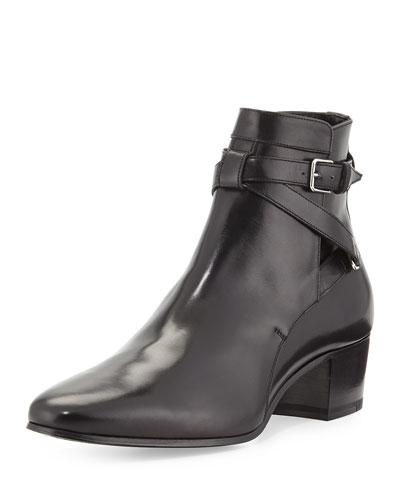 Saint Laurent Low-Heel Ankle-Strap Bootie