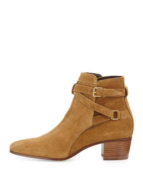 Low-Heel Suede Ankle-Strap Bootie