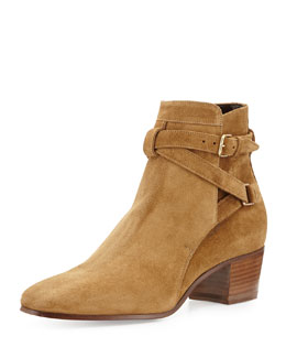 Saint Laurent Low-Heel Suede Ankle-Strap Bootie