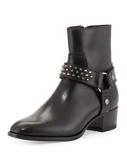 Saint Laurent Short Stud-Strap Harness Boot