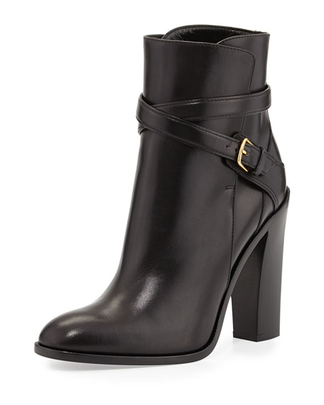 Saint Laurent Leather Crisscross Ankle Boot, Noir