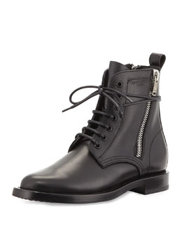 Saint Laurent Side-Zipper Lace-Up Boot