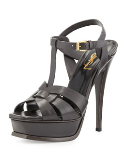 Saint Laurent Tribute Leather Platform Sandal, Earth