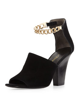 3.1 Phillip Lim Berlin Ankle Chain Suede Sandal, Black