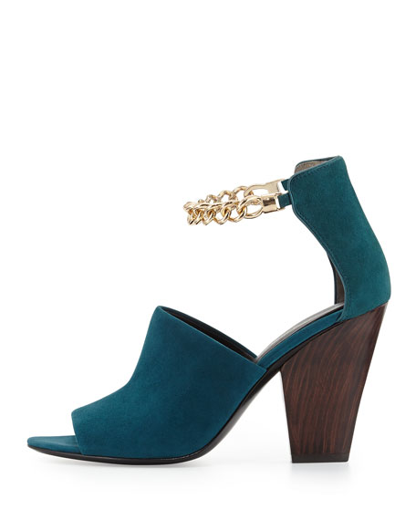 Berlin Ankle Chain Suede Sandal, Teal