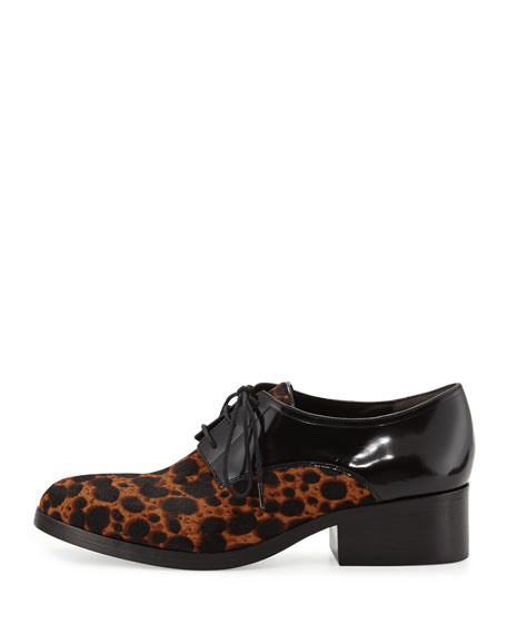 Hacienda Leopard-Print Calf Hair Oxford, Tan