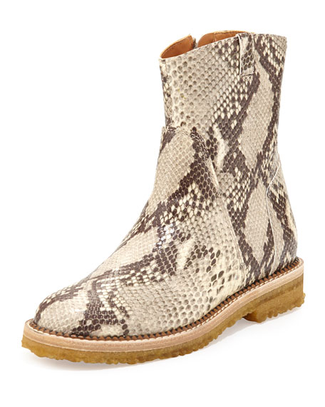 Maison Margiela Python-Embossed Ankle Boot, Natural