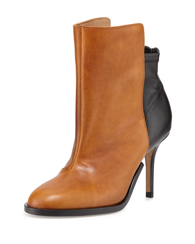 Maison Martin Margiela Bicolor Stretch-Back Ankle Boot, Caramel/Black