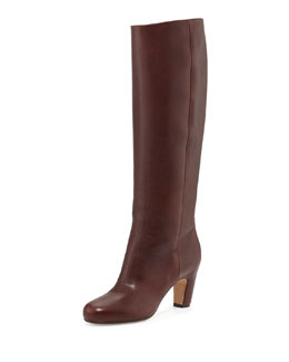 Maison Martin Margiela Pull-On Leather Knee Boot, Dark Brown/Burgundy